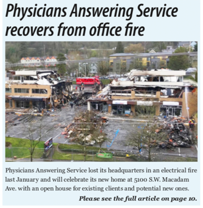 Physicians Answering Service Recovers From Office Fire